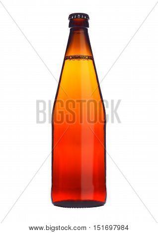 Bottle of beer cider orange glass isolated on white background