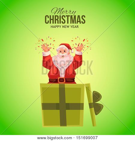 Cartoon style Santa Claus popping out of gift box, Christmas vector greeting card, green background. Full length portrait of Santa popping out of present box, greeting card template for Christmas eve