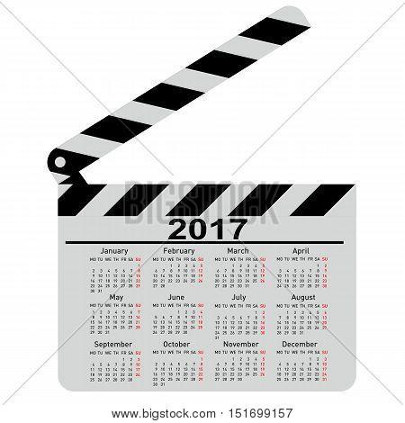 calendar for 2017 movie clapper board Vector Illustration.