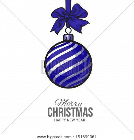 Christmas ball with blue ribbon and bow, vector greeting card template with white background. Shiny Christmas decoration ball of solid blue color, greeting card template for Christmas and New Year Eve