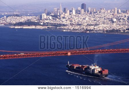 Container Ship Under Golden Gate