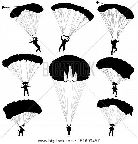 Set skydiver a silhouettes parachuting vector illustration