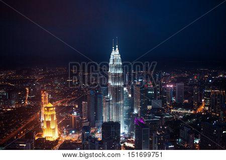 KUALA LUMPUR, MALAYSIA, NOVEMBER 22: Kuala Lumpur skyline at night, view of the centre city from TV tower November 22, 2014