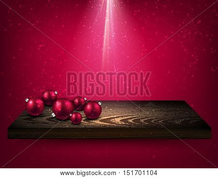 Pink background with Christmas balls on wooden shelf. Vector illustration.