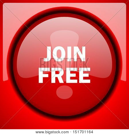 join free red icon plastic glossy button