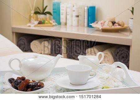 English tea set with dried fruit dessert in SPA salon
