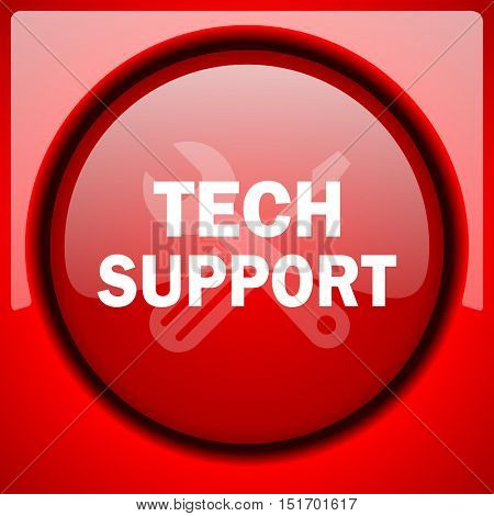 technical support red icon plastic glossy button