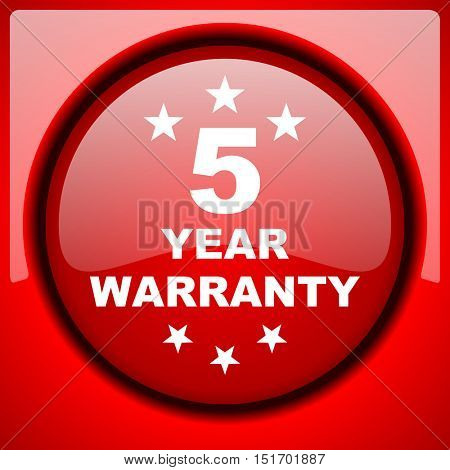 warranty guarantee 5 year red icon plastic glossy button