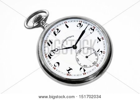 Old swiss pocket watch perspective left isolated on white background