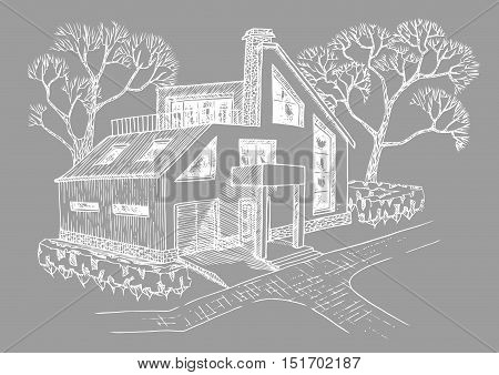 modern house with garage attic and terrace. Cottage with landscaping. Hand drawing house.