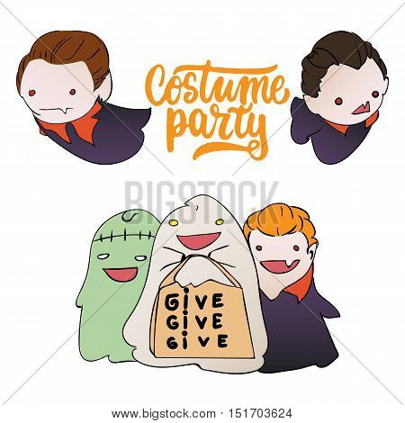 Costume party - Halloween party hand drawn lettering and sketch card with children dressed in a vampire costume, ghosts, zombies. Fun illustration for t-shirt print, banner, flyer, poster design