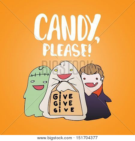 Candy, please - Halloween party hand drawn lettering and sketch card with children dressed in a vampire costume, ghosts, zombies. Fun illustration for t-shirt print, banner, flyer, poster design