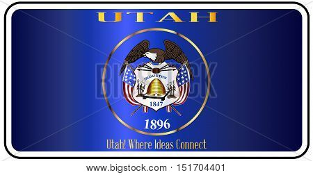 Utah license plate in the colors of the state flag with the flag icons over a white background