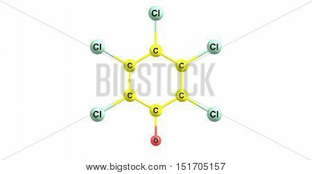 Pentachlorophenol or PCP is an organochlorine compound used as a pesticide and a disinfectant. 3d illustration of Pentachlorophenol.