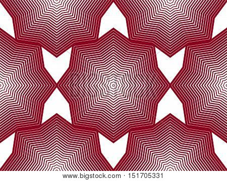 Ornate vector red abstract background with white lines. Symmetric decorative graphical pattern geometric illustration.