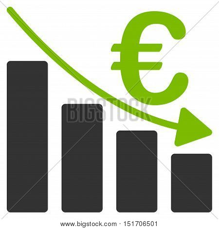 Euro Recession Bar Chart icon. Vector style is bicolor flat iconic symbol, eco green and gray colors, white background.