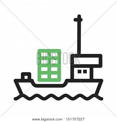 Ship, cargo, shipping icon vector image. Can also be used for Industrial Process. Suitable for mobile apps, web apps and print media.