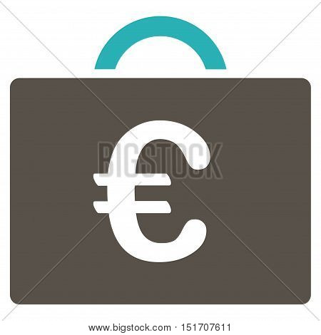 Euro Bookkeeping Case icon. Vector style is bicolor flat iconic symbol, grey and cyan colors, white background.