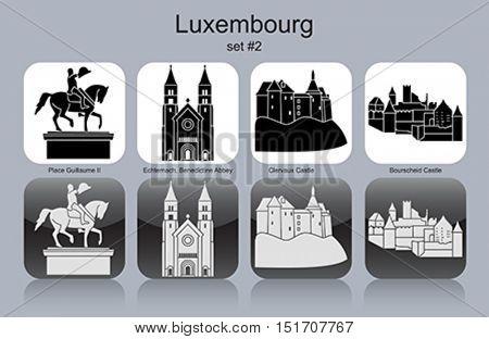 Landmarks of Luxembourg. Set of monochrome icons. Editable vector illustration.