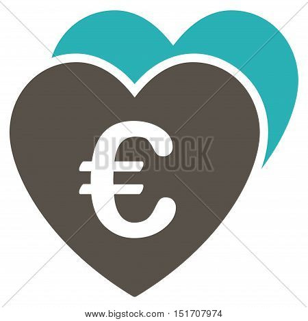 Euro Favorites Hearts icon. Vector style is bicolor flat iconic symbol, grey and cyan colors, white background.