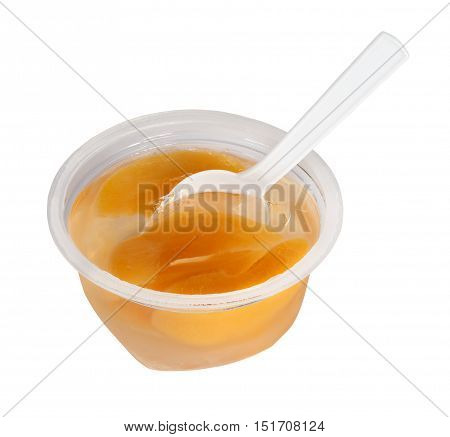 Peach jam in plastic jar. Isolation on a white background.