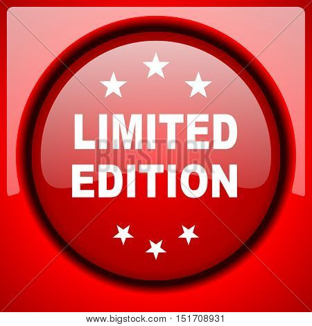 limited edition red icon plastic glossy button