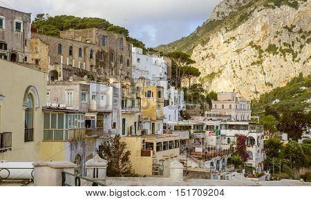 Houses in Capri town on Capri island, Italy