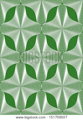 Green vector ornamental pattern seamless art background decorated with white lines best for graphic and web design. Geometric ornate decoration.