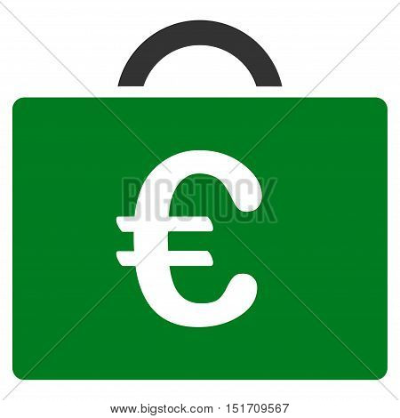 Euro Bookkeeping Case icon. Vector style is bicolor flat iconic symbol, green and gray colors, white background.