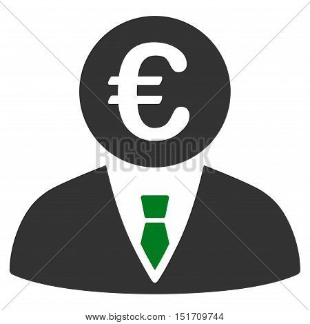 Euro Clerk icon. Vector style is bicolor flat iconic symbol, green and gray colors, white background.