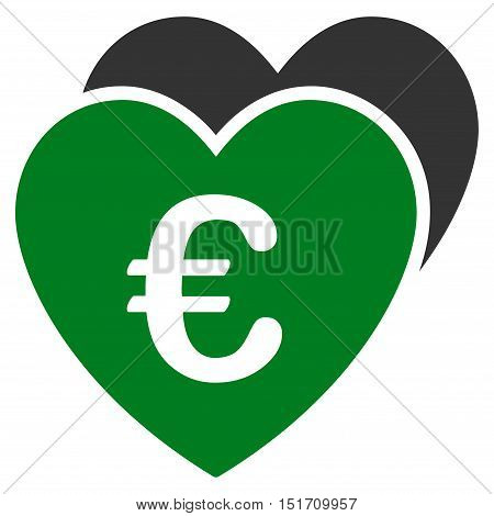 Euro Favorites Hearts icon. Vector style is bicolor flat iconic symbol, green and gray colors, white background.