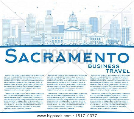 Outline Sacramento Skyline with Blue Buildings and Copy Space. Business Travel and Tourism Concept with Modern Architecture. Image for Presentation Banner Placard and Web Site.