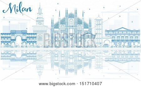 Outline Milan Skyline with Blue Landmarks and Reflections. Business Travel and Tourism Concept with Historic Architecture. Image for Presentation Banner Placard and Web Site.