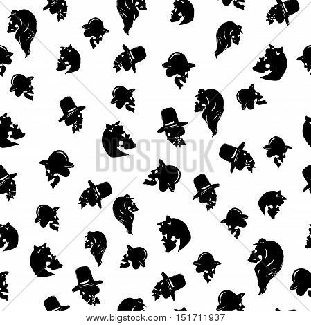 Male and female skulls in hats of different types. Black seamless pattern on white background. Isolated. Can be used for Halloween greeting cards wrapping paper