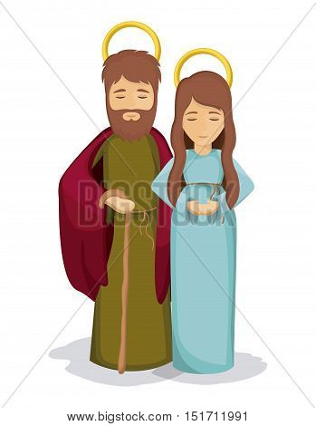 Mary and joseph icon. Holy family and merry christmas season theme. Colorful design. Vector illustration
