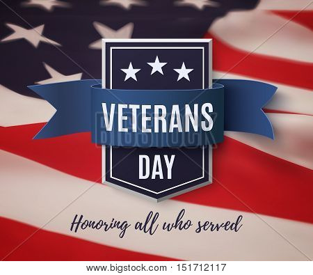 Veterans Day background template. Badge with blue ribbon on top of American flag. Vector illustration.