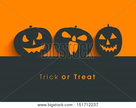 Poster, banner or background for Trick or Treat Halloween Party with scary pumpkins