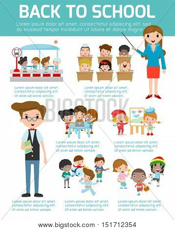 Back to school Infographic, School infographics element, Education infographic, Creativity, idea, students, Back to school set with charts and other elements. learning, Vector illustration,