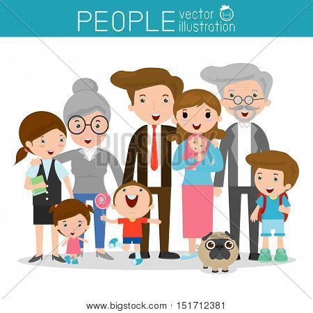 big family,family and children ,family and kids, family life, set of Happy family, family, mother, father, girl, boy, Vector Illustration