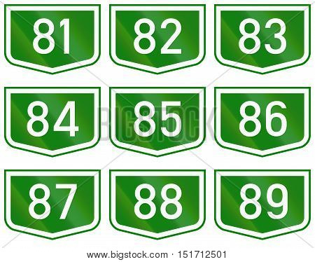 Montage Of Route Shields Of Numbered Main Roads In Hungary