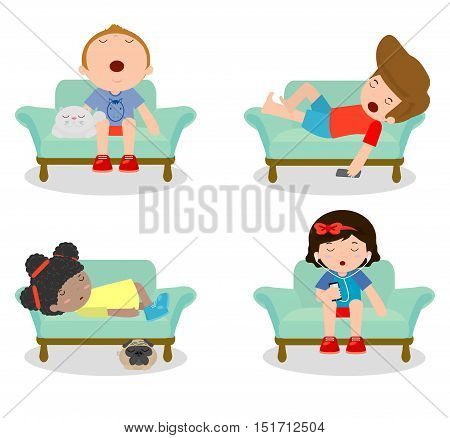 set of kid sleeping on sofa at home on white background, children resting at home, Couch and child , Simple cartoon of kids taking nap on sofa, people sleep on sofa,Vector illustration