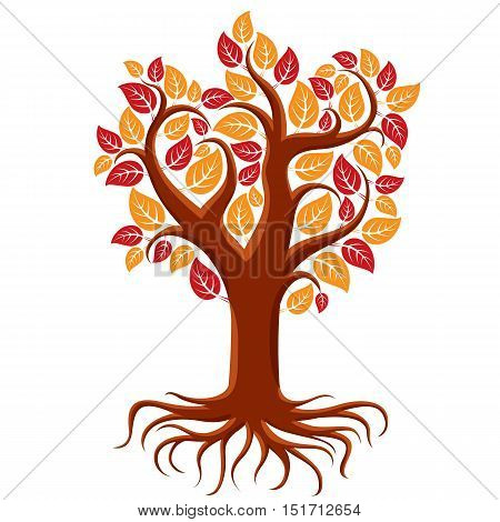 Vector art illustration of branchy autumn tree with strong roots. Tree of life symbolic image ecology conservation theme.