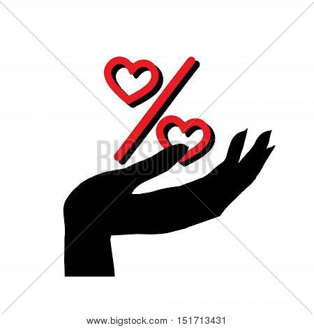 Vector icon of percentage sign in hand. Heart percentage