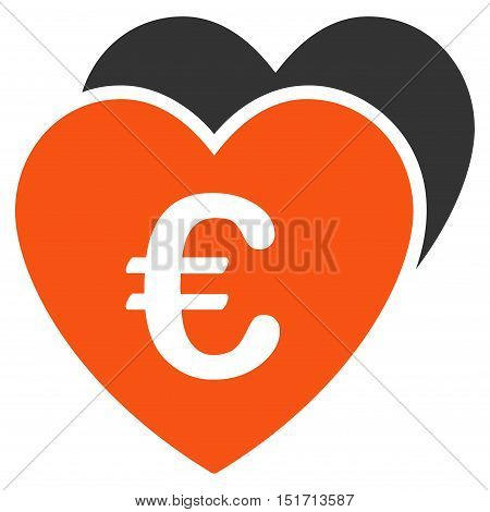 Euro Favorites Hearts icon. Vector style is bicolor flat iconic symbol, orange and gray colors, white background.