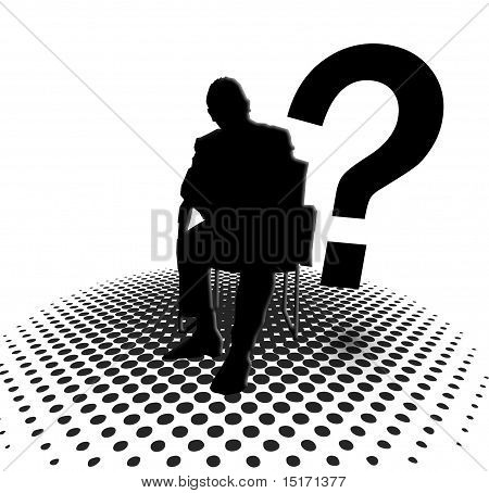 Silhouette of man and question mark