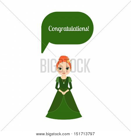 Cute cartoon princess with speech bubble Congratulations for game design. Vector illustration