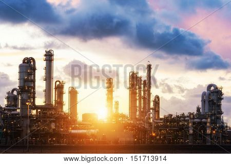 Oil refinery at sunset in Rotterdam Netherlands.