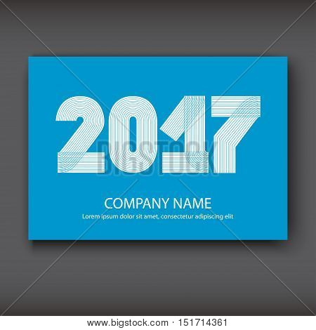 Cover Annual Report numbers 2017 modern design white on blue background year 2017 in thin lines striped minimalist numbers written with a pen vector illustration