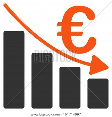 Euro Recession Bar Chart icon. Vector style is bicolor flat iconic symbol, orange and gray colors, white background.