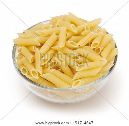 Penne pasta isolated on white background with clipping path